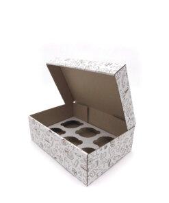 Коробка для мафина с печатью на 6 шт.